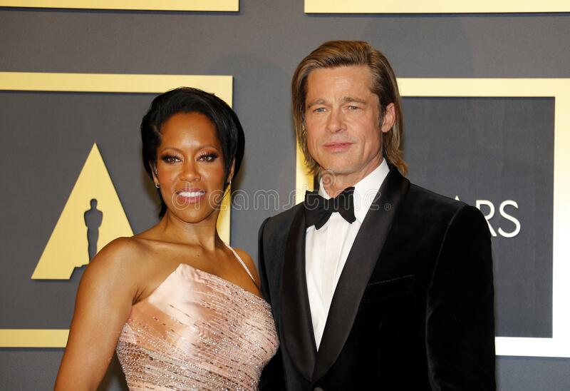 Brad Pitt and Regina King stock image