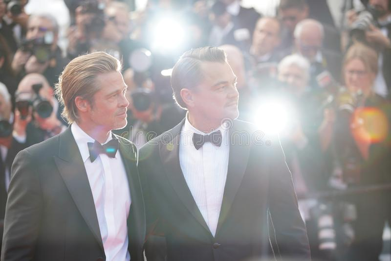 Brad Pitt u. Leonardo DiCaprio stockfoto