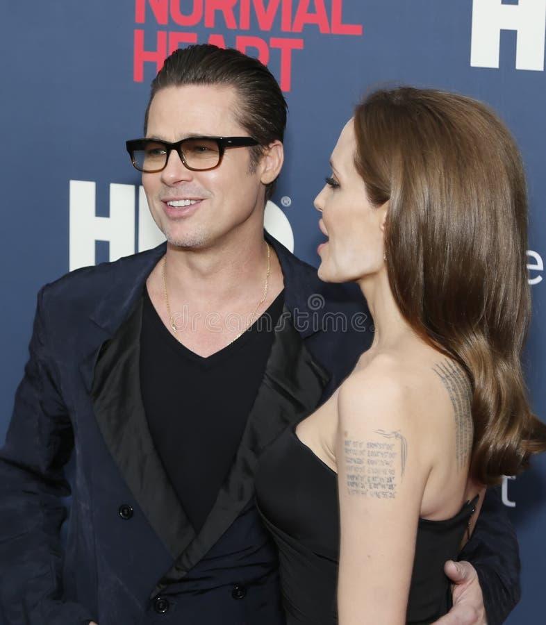 Brad Pitt y Angelina Jolie foto de archivo