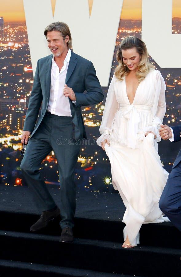 Brad Pitt y Margot Robbie fotos de archivo libres de regalías