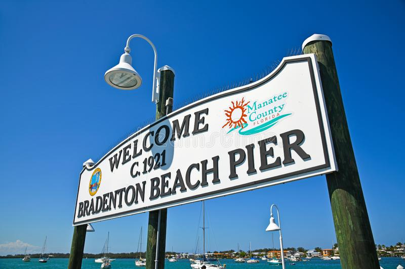Bradenton Beach Pier Sign stock images