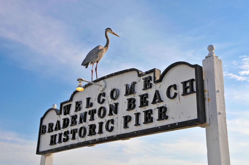 Bradentonstrand Historisch Pier Sign royalty-vrije stock foto