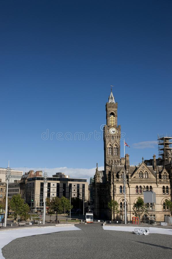 Bradford, West Yorkshire, UK, October 2013, A view of Bradford City Hall against clear blue skies in, Citypark, Centenary Square. Bradford, West Yorkshire, UK royalty free stock photography