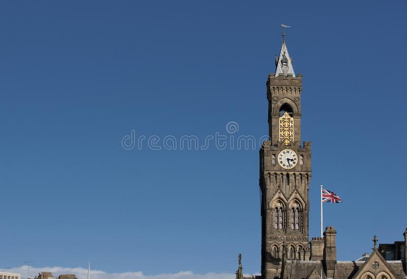 Bradford, West Yorkshire, UK, October 2013, A view of Bradford City Hall against clear blue skies in, Citypark, Centenary Square. Bradford, West Yorkshire, UK stock photography