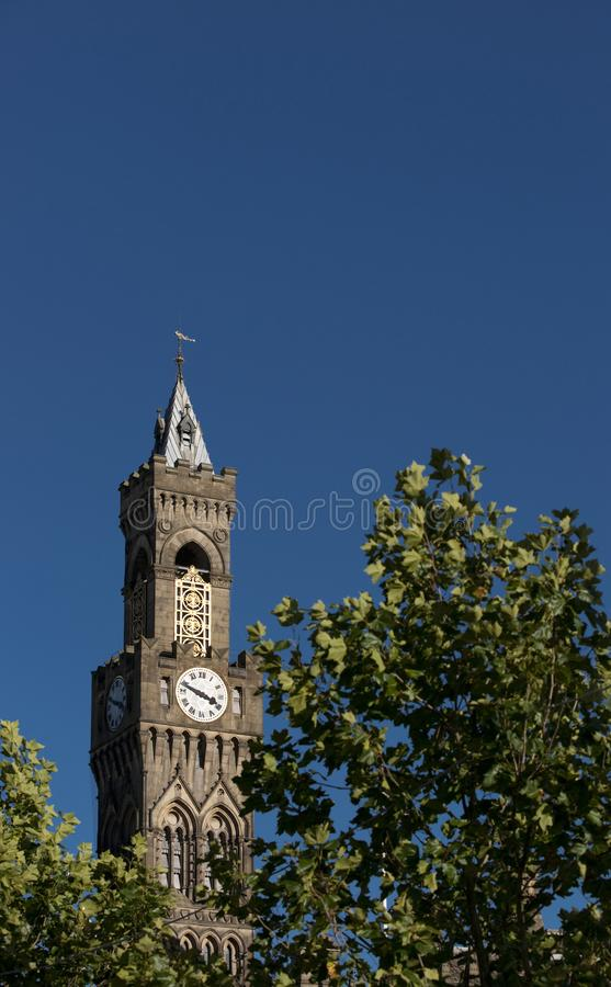 Bradford, West Yorkshire, UK, October 2013, A view of Bradford City Hall against clear blue skies in, Citypark, Centenary Square. Bradford, West Yorkshire, UK stock images