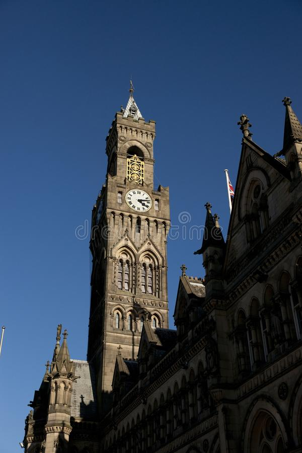 Bradford, West Yorkshire, UK, October 2013, A view of Bradford City Hall against clear blue skies in, Citypark, Centenary Square. Bradford, West Yorkshire, UK royalty free stock image