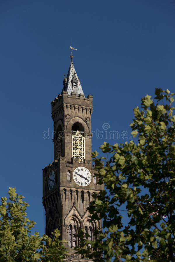 Bradford, West Yorkshire, UK, October 2013, A view of Bradford City Hall against clear blue skies in, Citypark, Centenary Square. Bradford, West Yorkshire, UK royalty free stock images