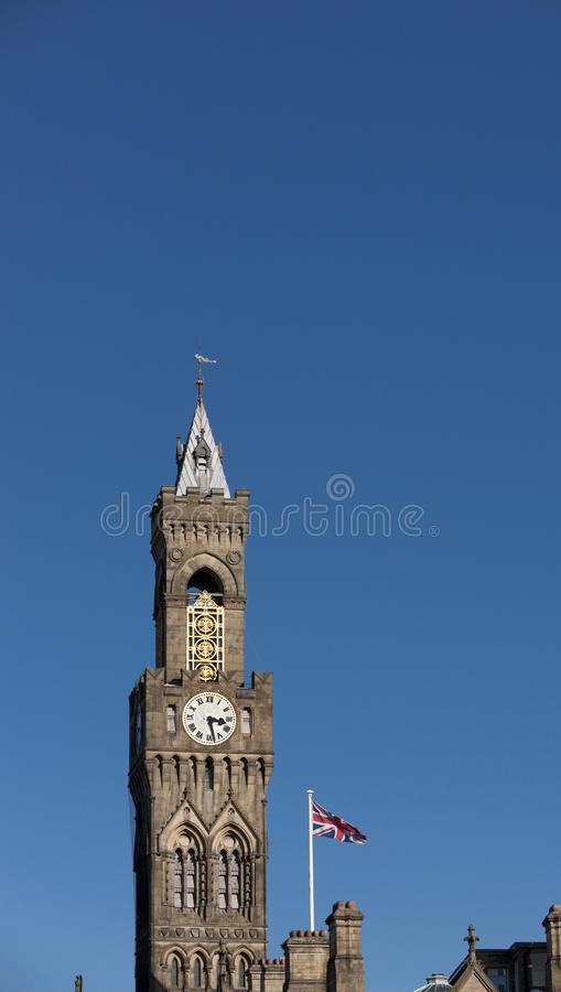 Bradford, West Yorkshire, UK, October 2013, A view of Bradford City Hall against clear blue skies in, Citypark, Centenary Square. Bradford, West Yorkshire, UK royalty free stock photos