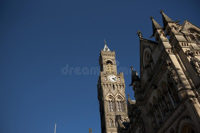 Bradford, West Yorkshire, UK, October 2013, A view of Bradford City Hall against clear blue skies in, Citypark, Centenary Square. Bradford, West Yorkshire, UK royalty free stock photo