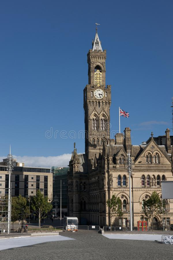 Bradford, West Yorkshire, UK, October 2013, A view of Bradford City Hall against clear blue skies in, Citypark, Centenary Square. Bradford, West Yorkshire, UK stock image