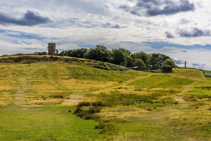 Bradgate Park, Leicestershire, during the summer showing the Old John folly. A view across Bradgate Park, Leicestershire, during the summer showing the Old John stock images