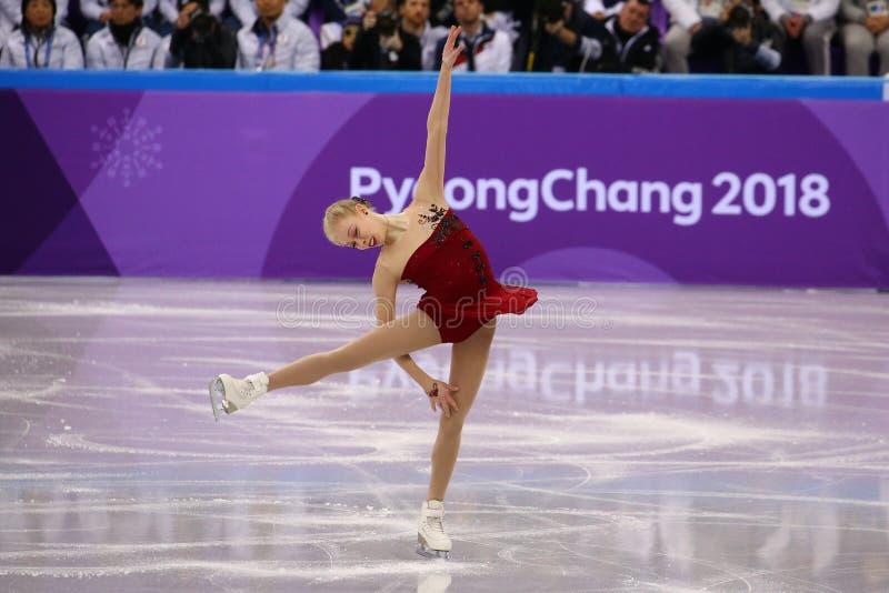 Bradie Tennell van de Verenigde Staten voert in Team Event Ladies Single Skating Kort Programma uit bij 2018 de Winterolympics stock fotografie