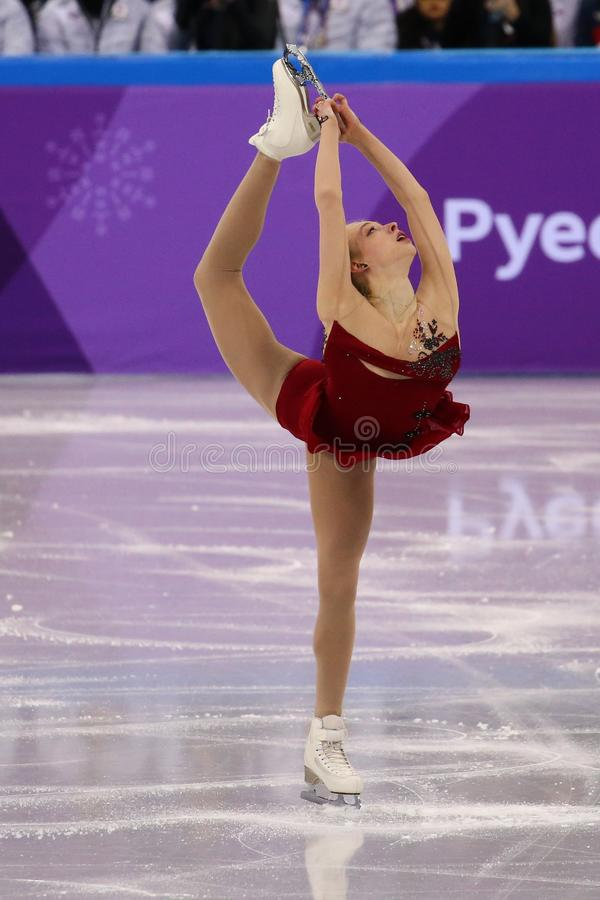 Bradie Tennell van de Verenigde Staten voert in Team Event Ladies Single Skating Kort Programma uit bij 2018 de Winterolympics stock afbeeldingen