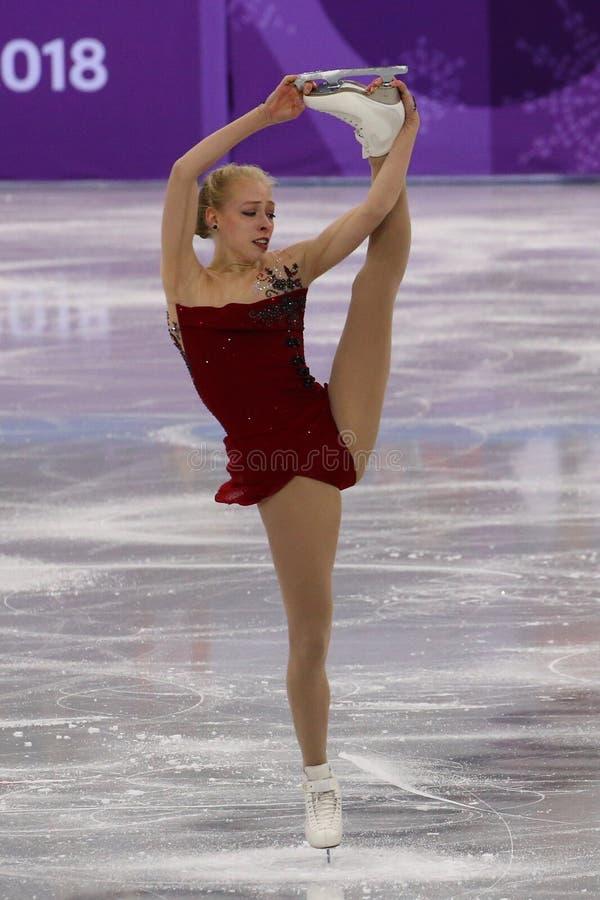 Bradie Tennell van de Verenigde Staten voert in Team Event Ladies Single Skating Kort Programma uit bij 2018 de Winterolympics stock foto