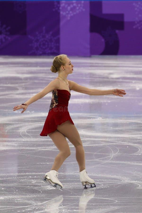 Bradie Tennell van de Verenigde Staten voert in Team Event Ladies Single Skating Kort Programma uit bij 2018 de Winterolympics stock foto's