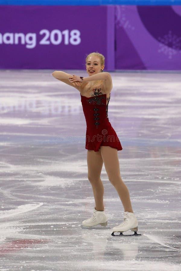 Bradie Tennell van de Verenigde Staten voert in Team Event Ladies Single Skating Kort Programma uit bij 2018 de Winterolympics royalty-vrije stock fotografie