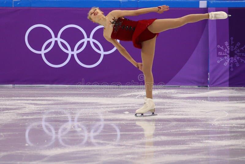 Bradie Tennell van de Verenigde Staten voert in Team Event Ladies Single Skating Kort Programma uit bij 2018 de Winterolympics royalty-vrije stock afbeelding