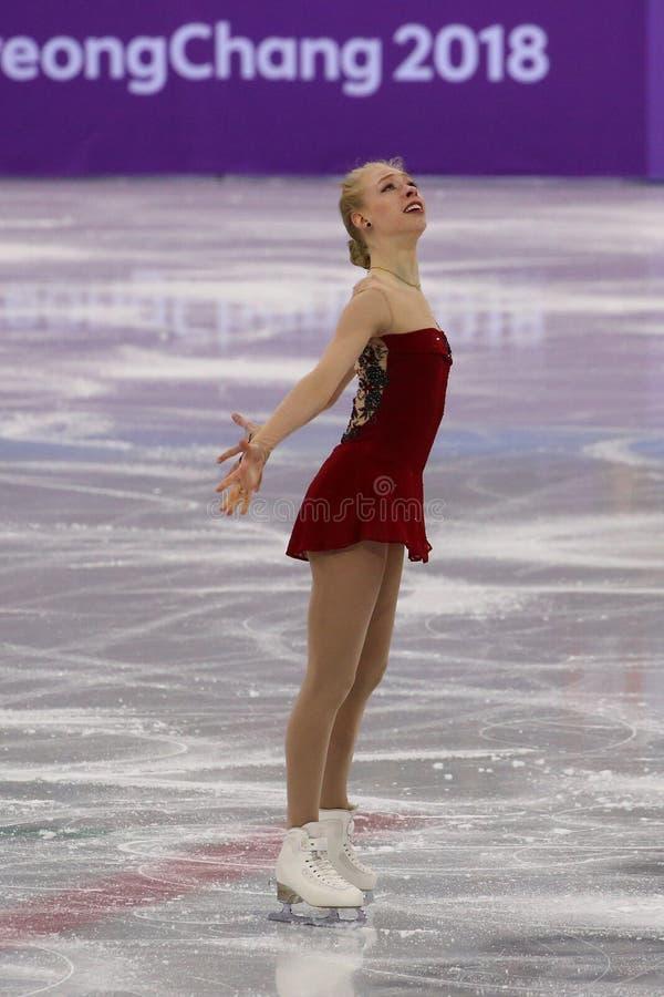 Bradie Tennell van de Verenigde Staten voert in Team Event Ladies Single Skating Kort Programma uit bij 2018 de Winterolympics royalty-vrije stock foto's
