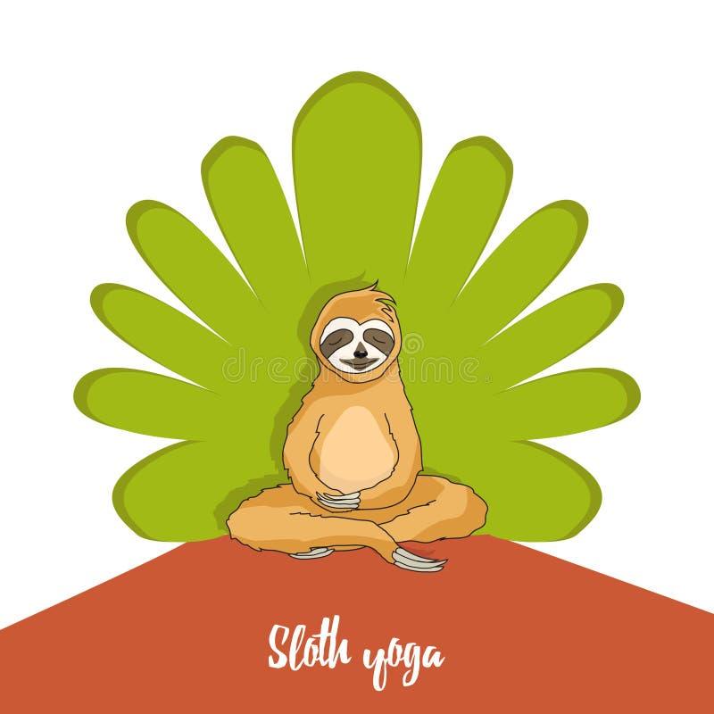 Bradipo adorabile che si siede nella posa di yoga sul fondo verde dell'albero royalty illustrazione gratis
