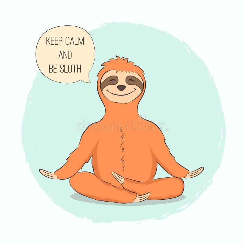 Bradipo nel loto di posa di yoga royalty illustrazione gratis