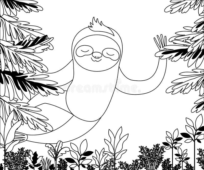 Bradipo selvaggio nella scena della giungla illustrazione vettoriale