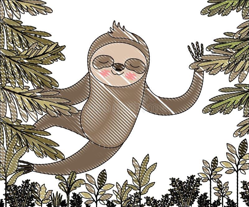 Bradipo selvaggio nella scena della giungla royalty illustrazione gratis