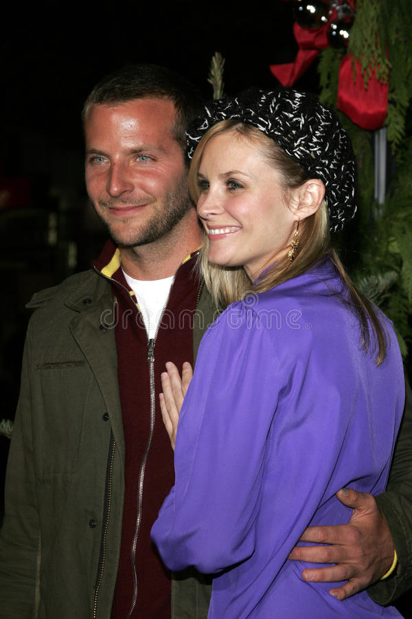 Bradley Cooper and Bonnie Somerville. WESTWOOD, CALIFORNIA. November 14, 2005. Bonnie Somerville and Bradley Cooper at the `Just Friends` Premiere at the Mann stock photos