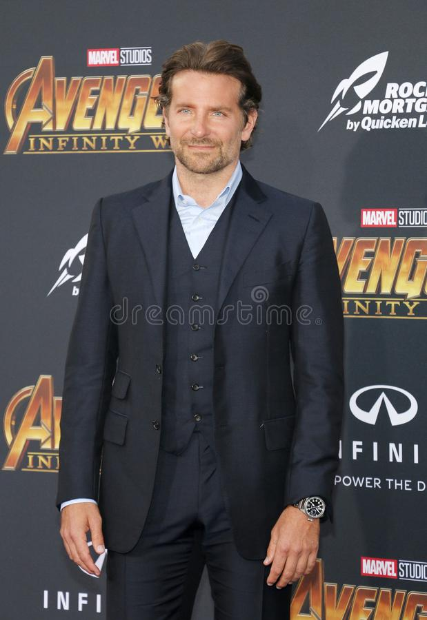 Bradley Cooper. At the premiere of Disney and Marvel`s `Avengers: Infinity War` held at the El Capitan Theatre in Hollywood, USA on April 23, 2018 royalty free stock photos