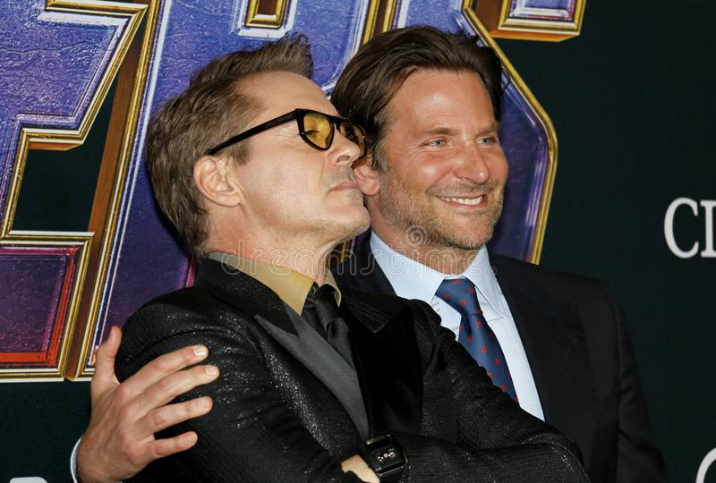 Bradley Cooper en Robert Downey Jr stock foto