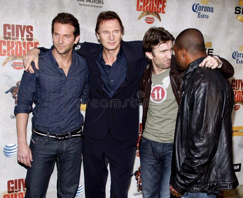 Bradley Cooper, Sharlto Copley, Liam Neeson and Quinton Jackson. Bradley Cooper, Liam Neeson, Sharlton Copley and Quinton Jackson at the 2010 Guys Choice Awards stock photo