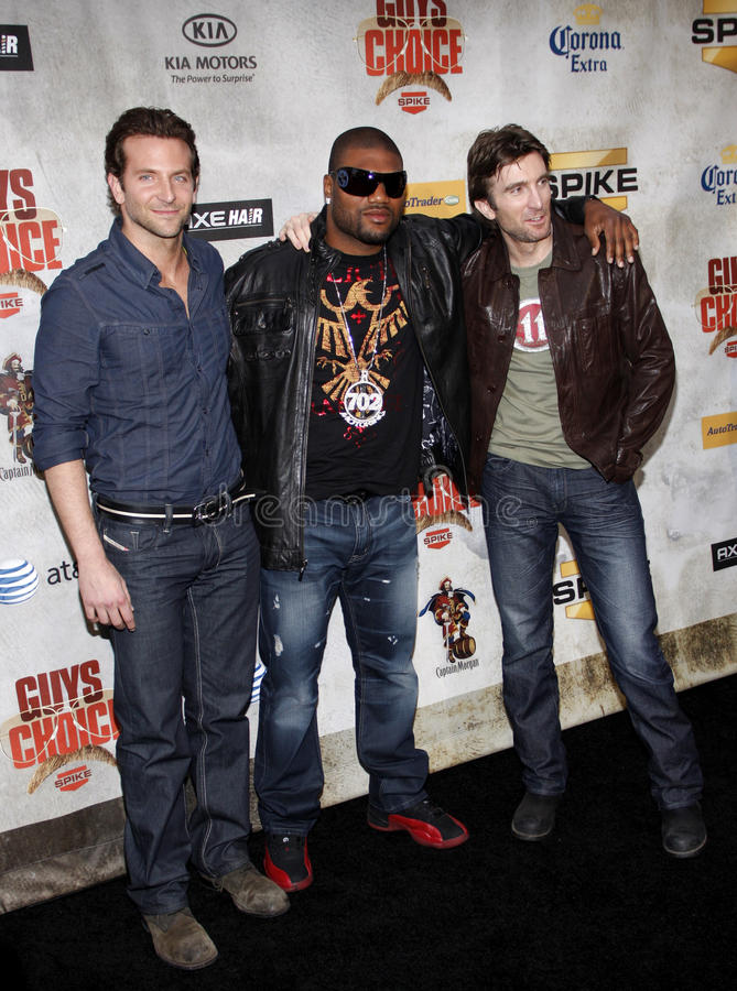 Bradley Cooper, Sharlto Copley and Quinton Jackson. At the 2010 Guys Choice Awards held at the Sony Pictures Studios in Culver City, California, United States royalty free stock photography