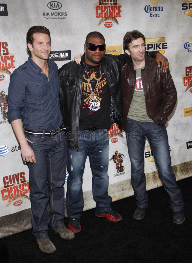 Bradley Cooper, Sharlto Copley and Quinton Jackson. Bradley Cooper, Sharlton Copley and Quinton Jackson at the 2010 Guys Choice Awards held at the Sony Pictures stock images