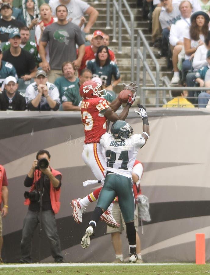 Bradley Hobbs. Kansas City Chiefs Mark Bradley out leaps Ellis Hobbs for a 13 yard touchdown reception in 2009 game stock photos