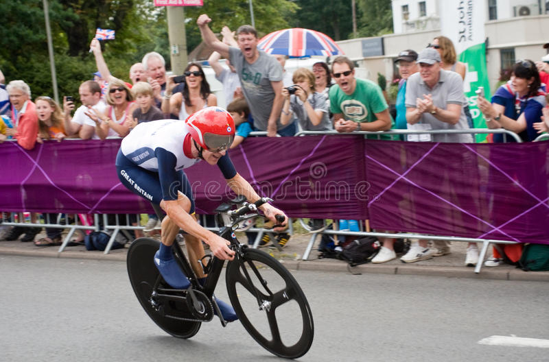 Bradley Wiggins in the Olympic Time Trial. British Cyclist and Tour de France winner Bradley Wiggins on the road in Surrey en route to win the London 2012 stock images