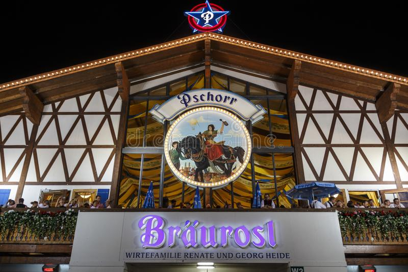 Braeusrosl tent at Oktoberfest in Munich, Germany, 2015. Munich, Germany - September 26, 2015: Nightshot of the Braeurosl tent on Theresienwiese stock images