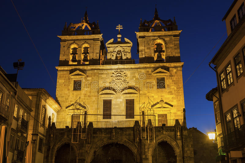 Braga Cathedral at dawn. Braga, Norte Region, Portugal royalty free stock images