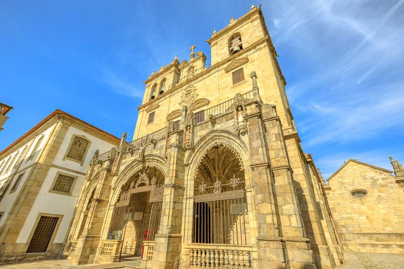 Braga Cathedral facade. Braga, Portugal. Facade of Braga Cathedral with its gothic bell towers. Se de Braga is the oldest cathedral in Portugal, Europe. Braga royalty free stock image