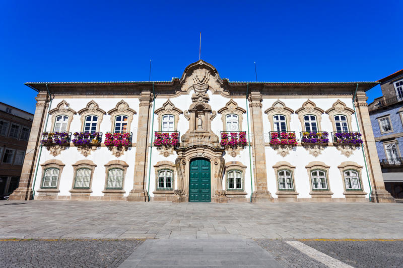 Braga City Hall. The Braga Town Hall is a landmark building located in Braga, Portugal. In there is located the Camara Municipal, the city local government royalty free stock image