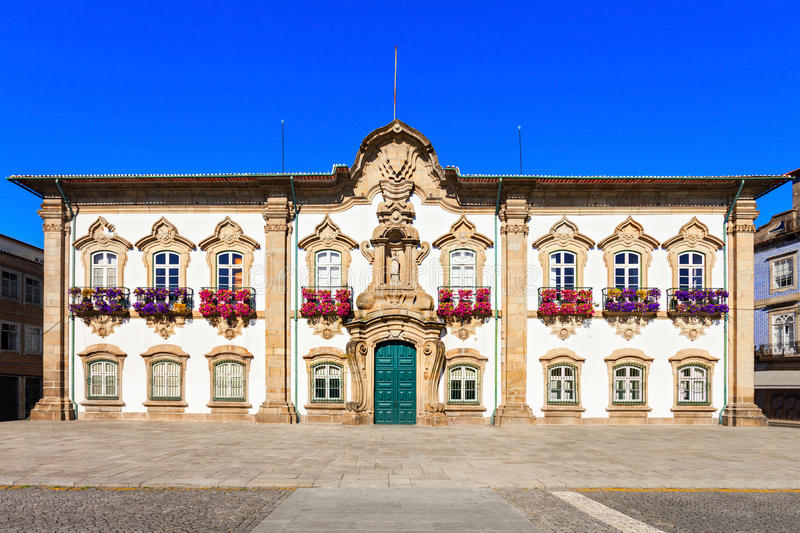 Braga City Hall. The Braga Town Hall is a landmark building located in Braga, Portugal. In there is located the Camara Municipal, the city local government stock photo
