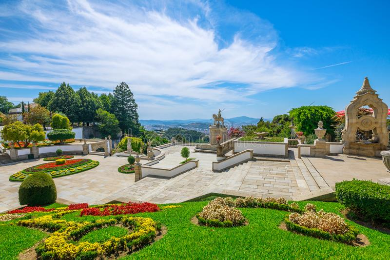 Braga cityscape aerial. Flower gardens in front of Cathedral of Bom Jesus do Monte. Spectacular aerial view of Braga cityscape, north of Portugal from the top of stock images