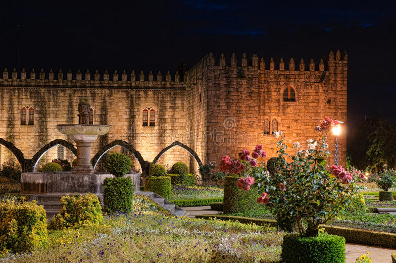 Braga Garden. A garden in Braga, at night with beautiful colors and tones stock photography
