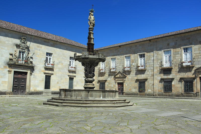 Braga. Largo do Paco with the fountain in Braga, Portugal royalty free stock images
