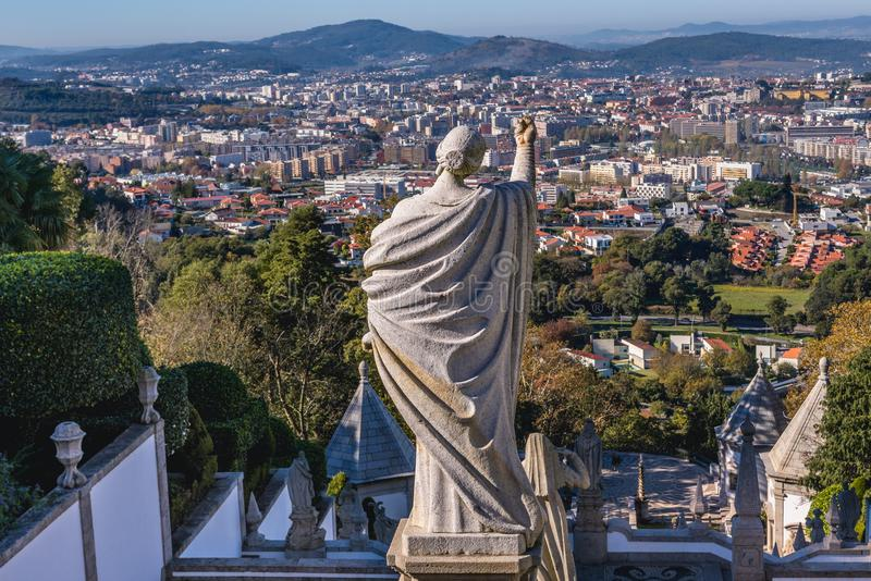 Braga in Portugal. Sculpture on stairs of famous sanctuary Bom Jesus do Monte near Braga city in historical Minho Province, Portugal stock photos
