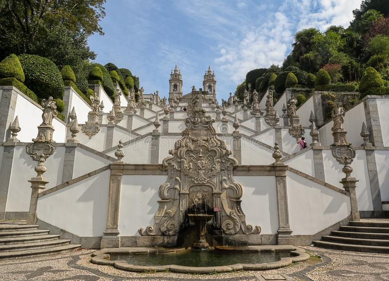 Sanctuary of Bom Jesus do Monte also known as Sanctuary of Bom Jesus de Braga located in Tenoes parish, near Braga, Portugal. stock photography