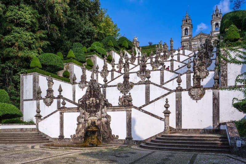Braga, Portugalia Bom Jezus robi Monte Escadorio i sanktuarium dos Cinco Sentidos fotografia royalty free