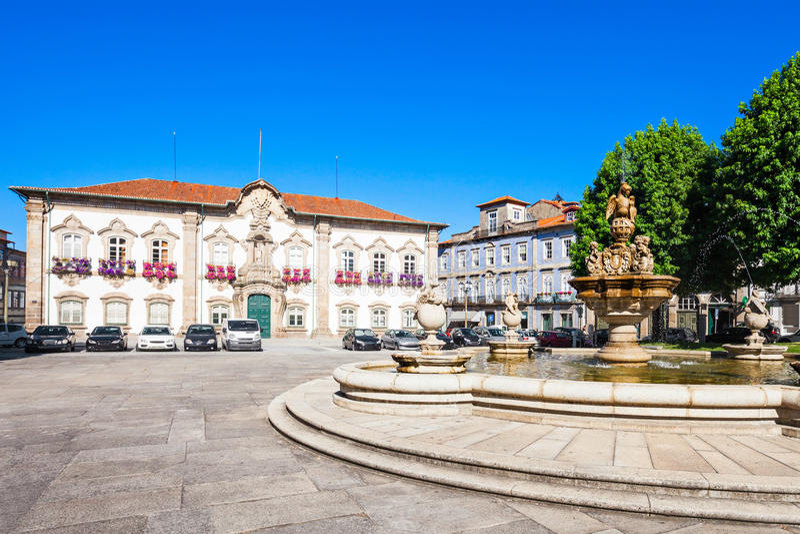 Braga urząd miasta fotografia stock