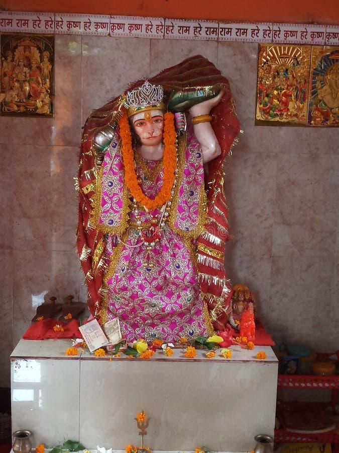 Brahamin che dà puja in tempio di Hanuman fotografia stock libera da diritti