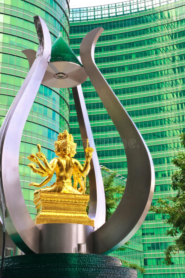 Brahma Worship And Modern Buildings Stock Photos
