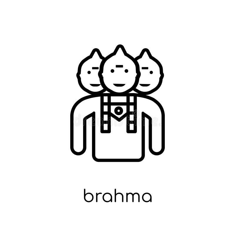 Brahmapictogram In modern vlak lineair vectorbrahma-pictogram op whi royalty-vrije illustratie