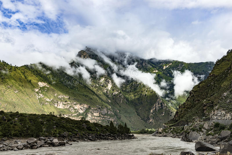 Brahmaputra, Tibet fotografia stock
